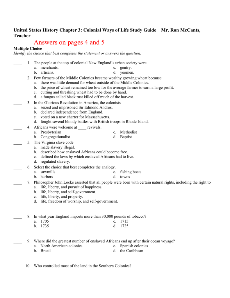 us history chapter 3 colonial ways of life study guide rh studylib net chapter 14.1 the history of life reinforcement and study guide answers chapter 25 the history of life on earth study guide answers