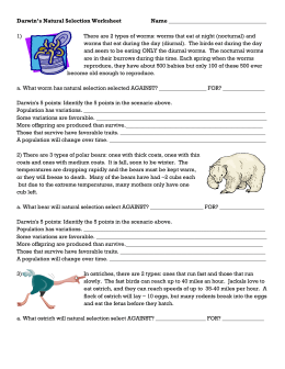 Darwin*s Natural Selection Worksheet