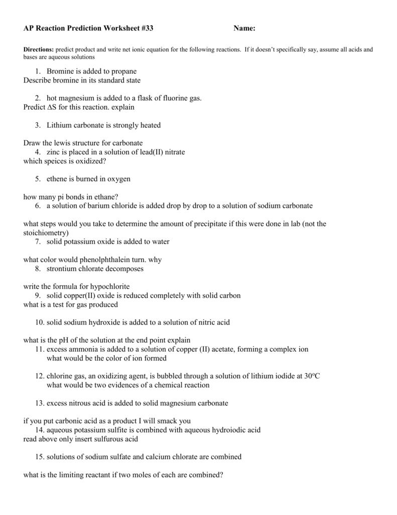 Ap Reaction Prediction Worksheet 2