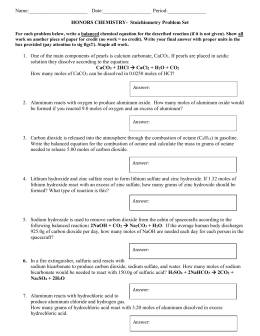 honors stoichiometry problem set - Mole Ratio Worksheet