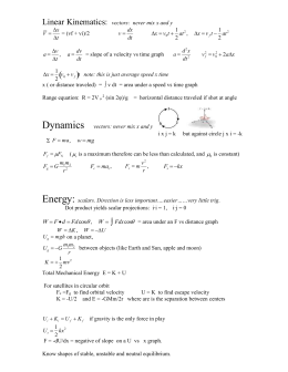AP Physics C Mechanics Formula Sheet