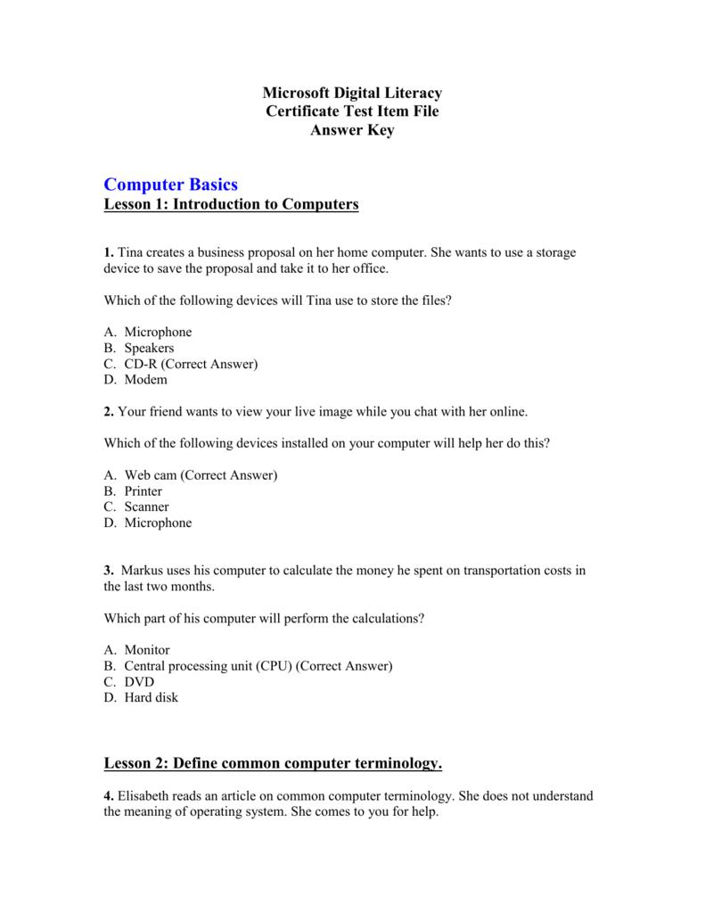 Microsoft Office Digital Literacy Certificate Test Digital Photos
