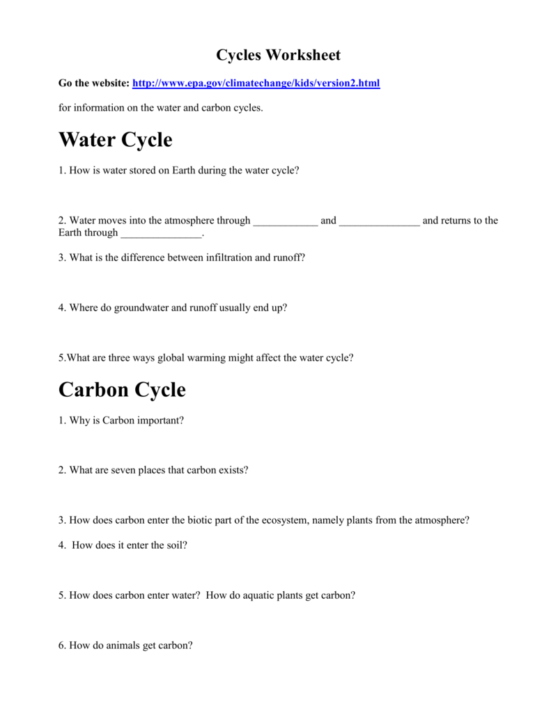 Cycles Worksheet