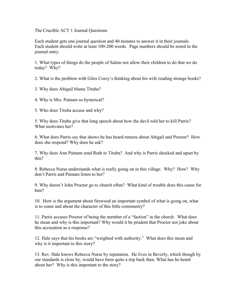 The Crucible ACT 1 Journal Questions