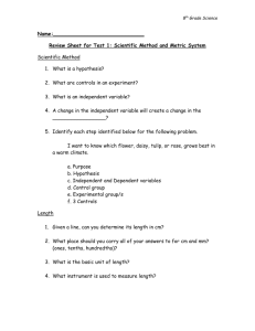 Review Sheet for Test 1: Scientific Method and Metric System