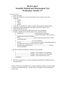 Review sheet for scientific method quiz