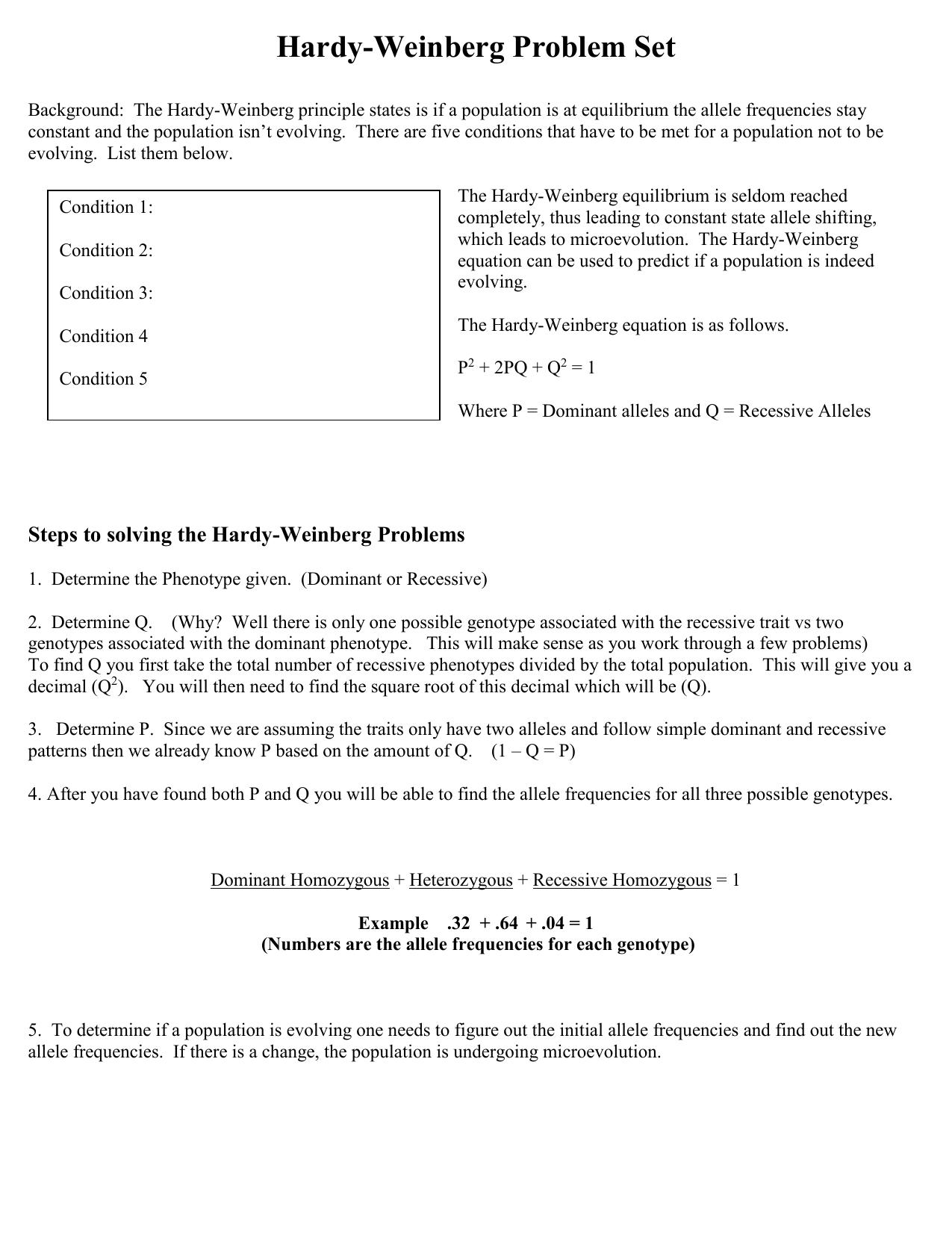 Hardy-Weinberg Problem Set