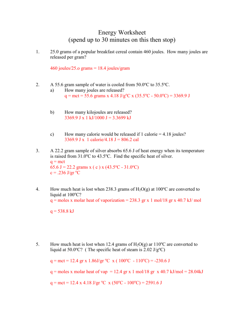 Answer Key for Worksheet