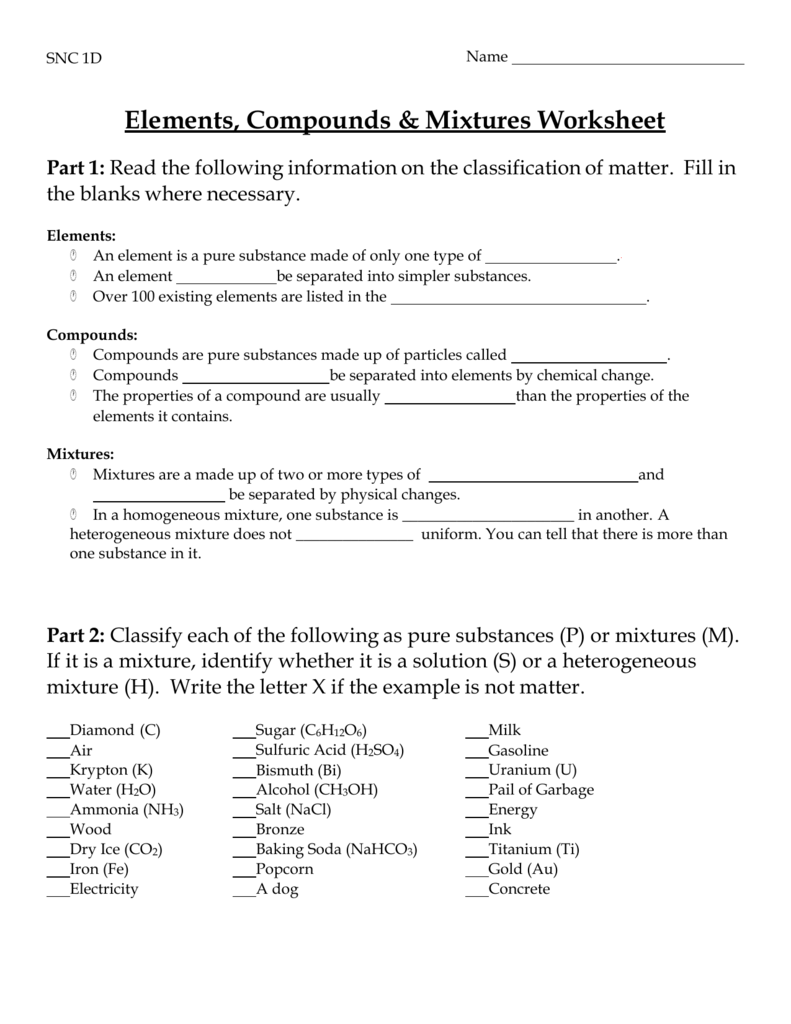 Elements, Compounds & Mixtures Worksheet