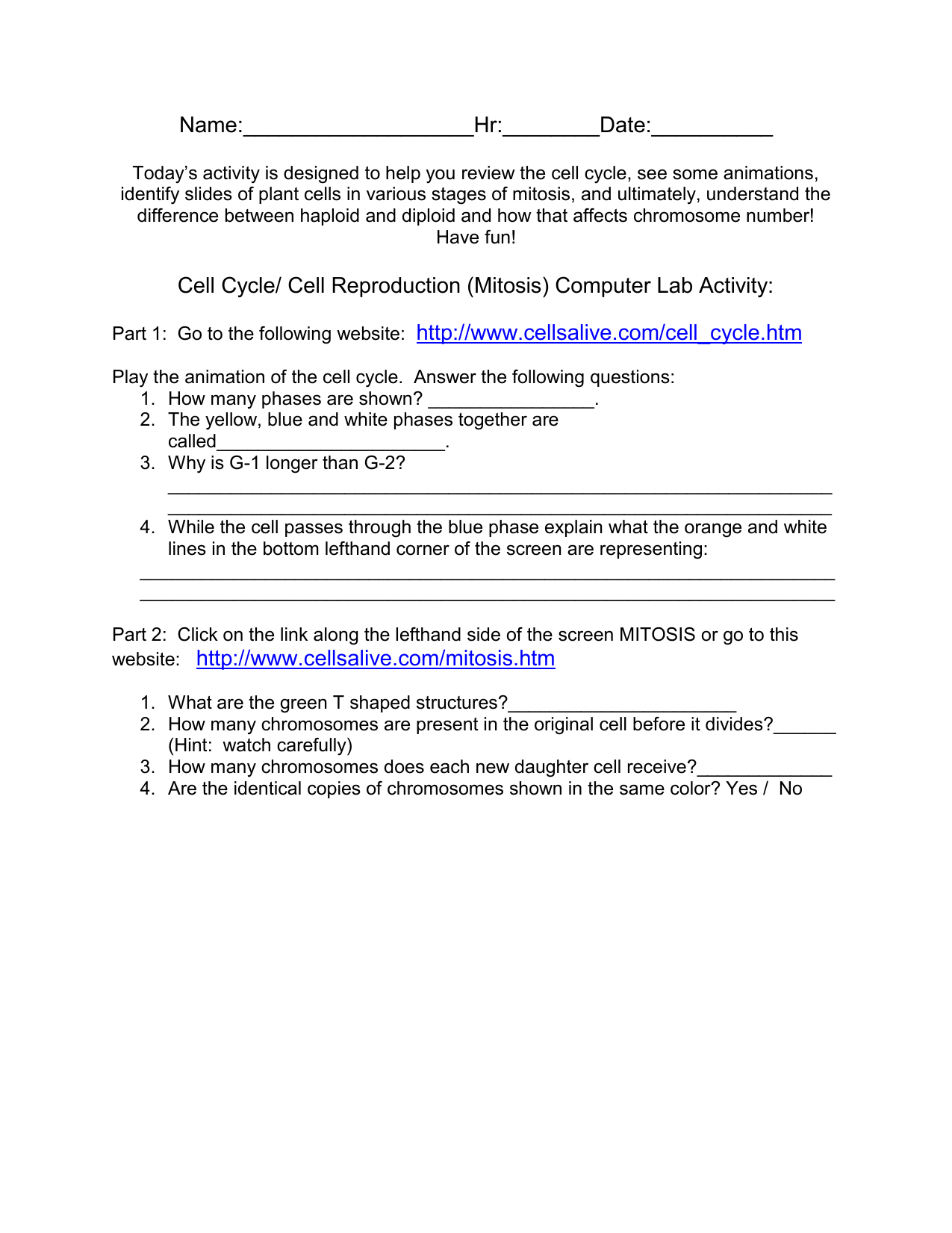 Uncategorized Onion Cell Mitosis Worksheet Answers cell cycle reproduction mitosis computer lab