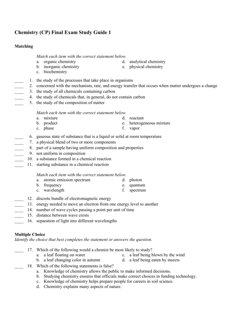 Chemistry (CP) Final Exam Study Guide 1