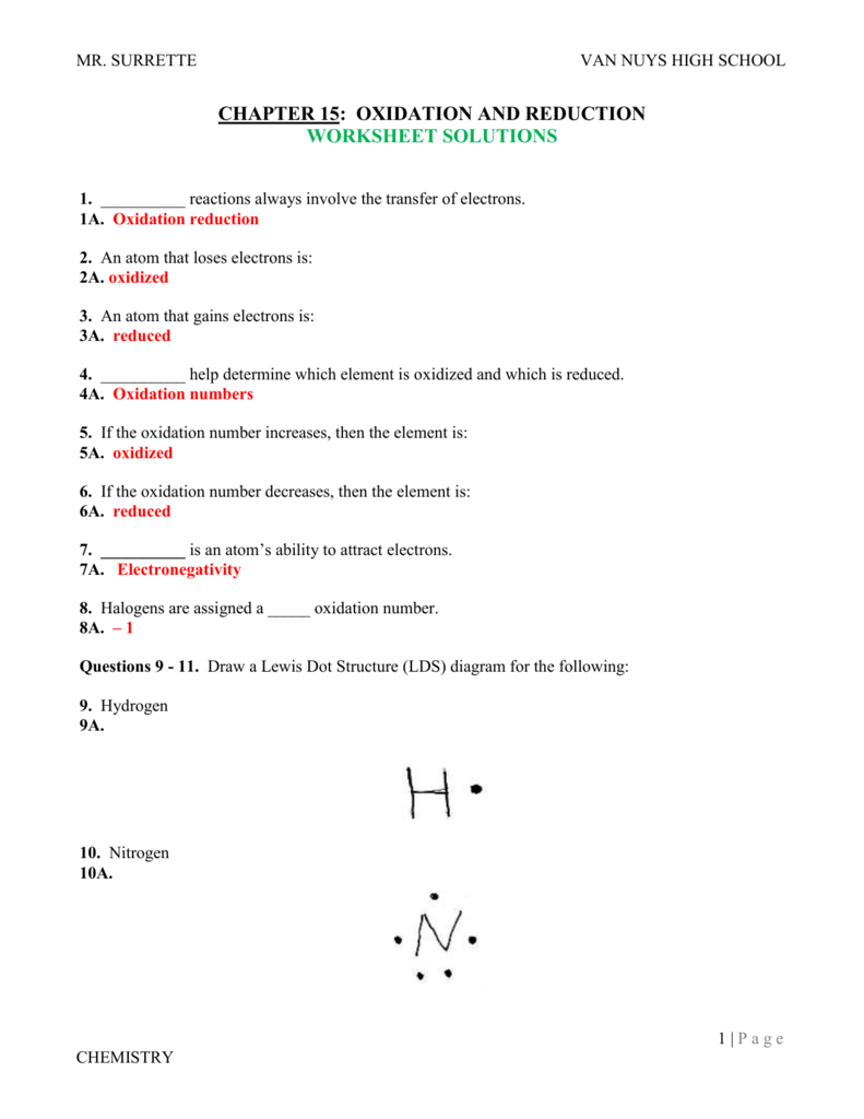 CH 15Redox ReactionsSolutions – Oxidation and Reduction Worksheet