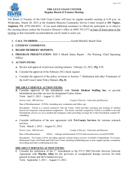 Page 1 of 5 THE GULF COAST CENTER Regular Board of Trustees