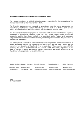 Statement of Responsibility of the Management Board