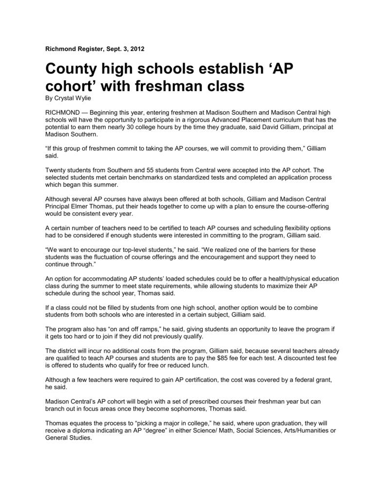 Richmond Register Sept 3 2012 County High Schools Establish Ap
