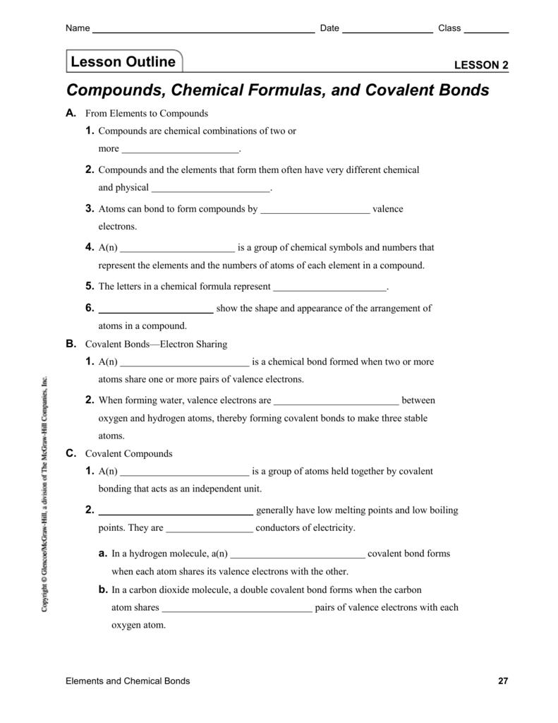 Lesson 2 | Compounds, Chemical Formulas,