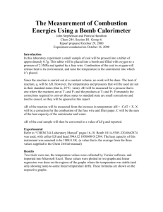 The Measurement of Combustion Energies Using a Bomb Calorimeter