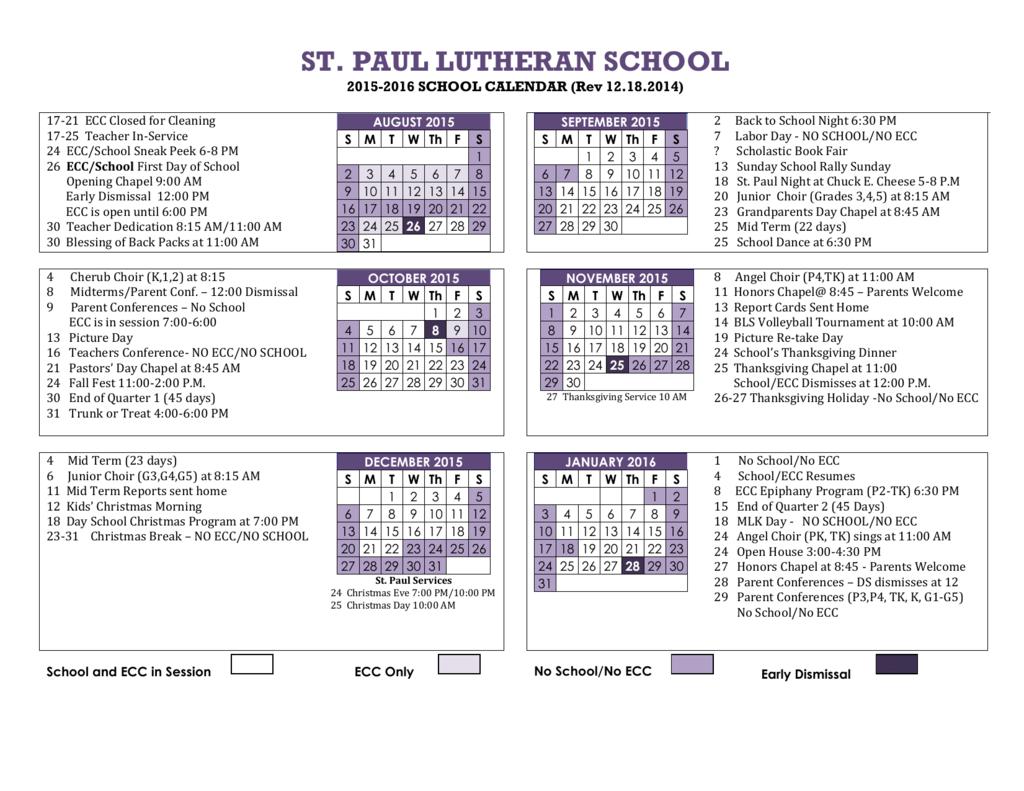 Ecc Calendar.School Calendar 2015 2016 St Paul Lutheran Church And School