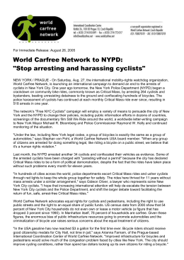 World Carfree Network to NYPD: Stop arresting and harassing cyclists