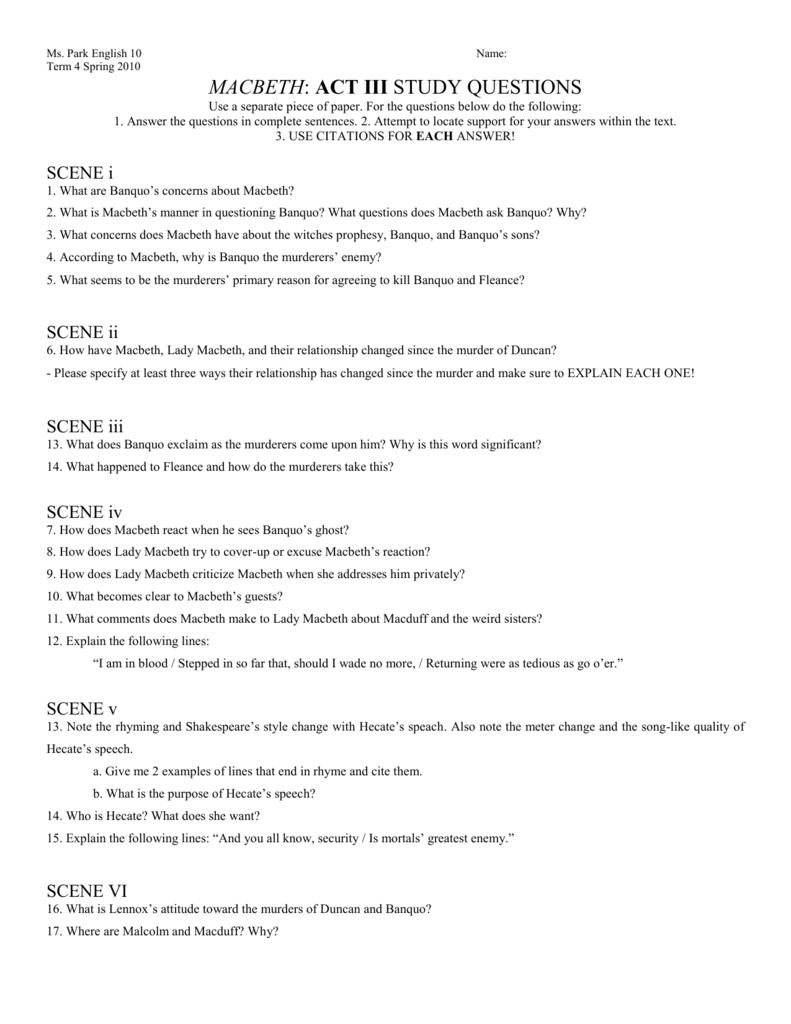 macbeth act iii study guide