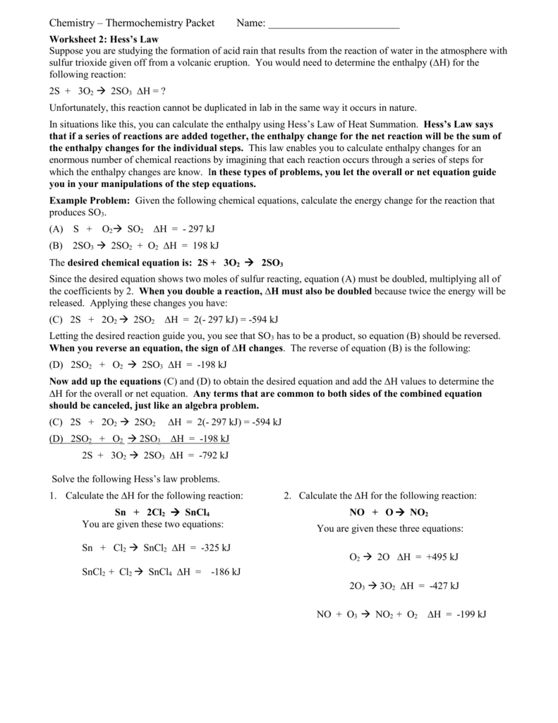 Worksheets Hess Law Worksheet hess law worksheet 415
