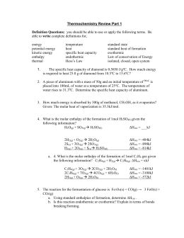 Thermochemistry Review Worksheet