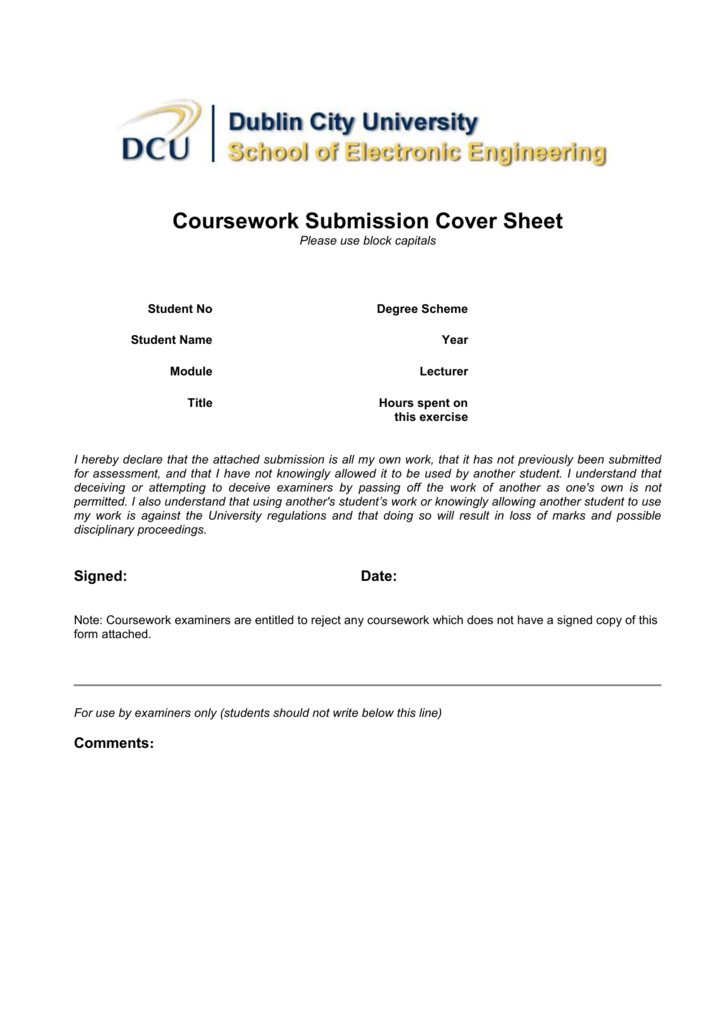Coursework Cover Sheet