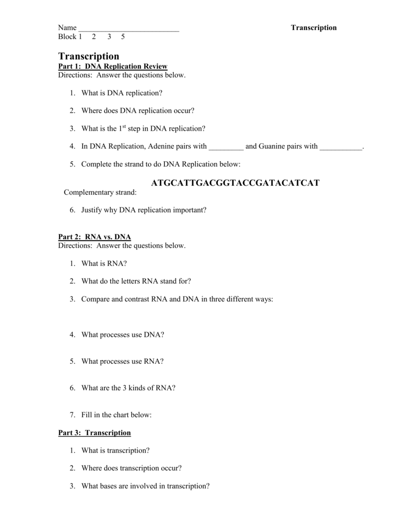 Assignment on DNA, RNA, Transcription and Translation Throughout Dna And Rna Worksheet Answers