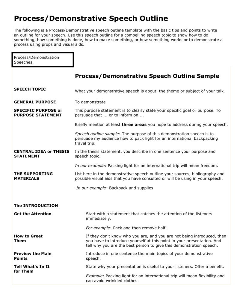 Processdemonstration Outline Sample