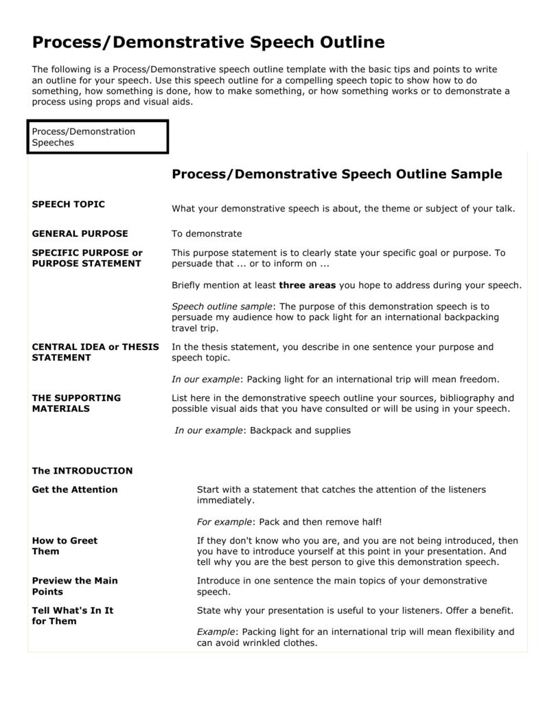 ProcessDemonstration Outline Sample – Demonstration Speech Example Template