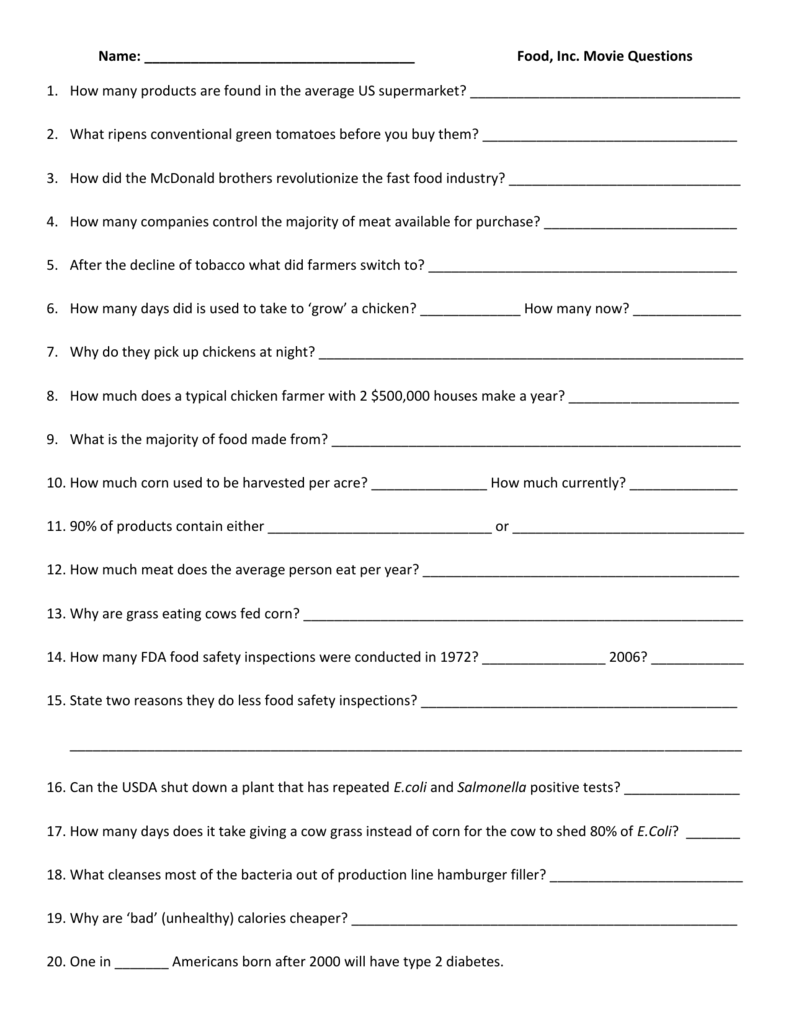 Food Inc questions 25 For Food Inc Movie Worksheet Answers