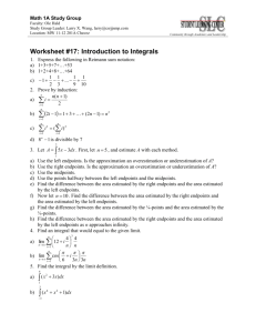 Worksheet #17: Introduction to Integrals