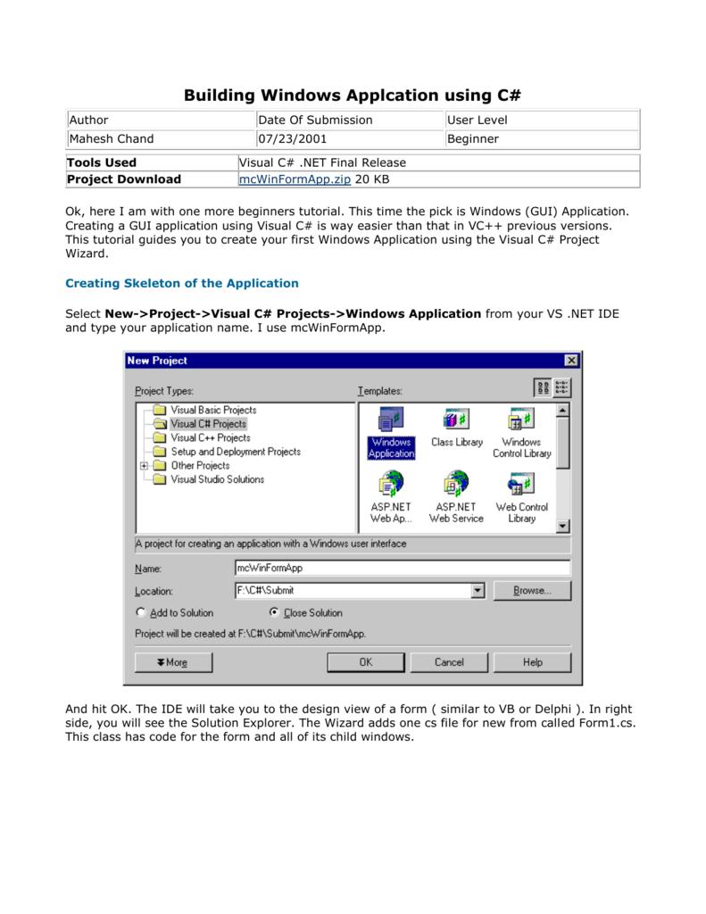 Building Windows Applcation using C