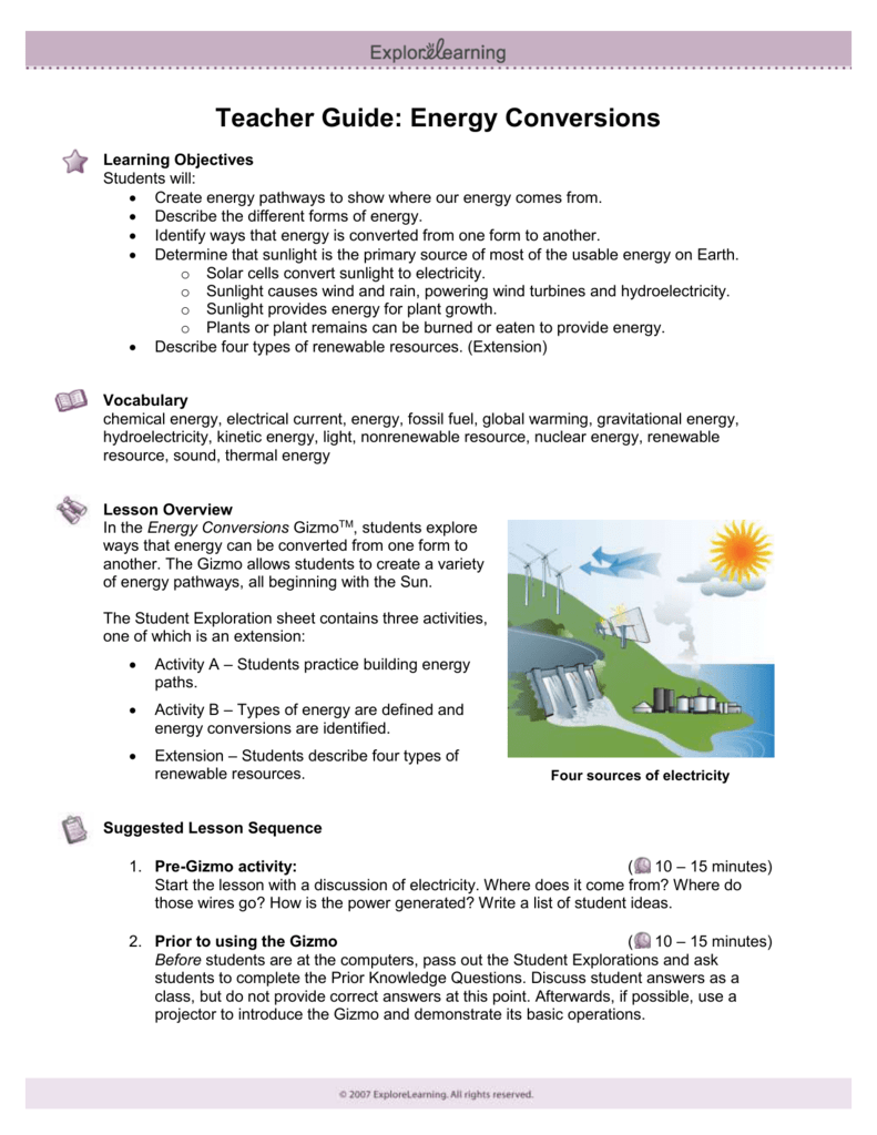 Student Exploration Energy Conversions Gizmo Answer Key ...