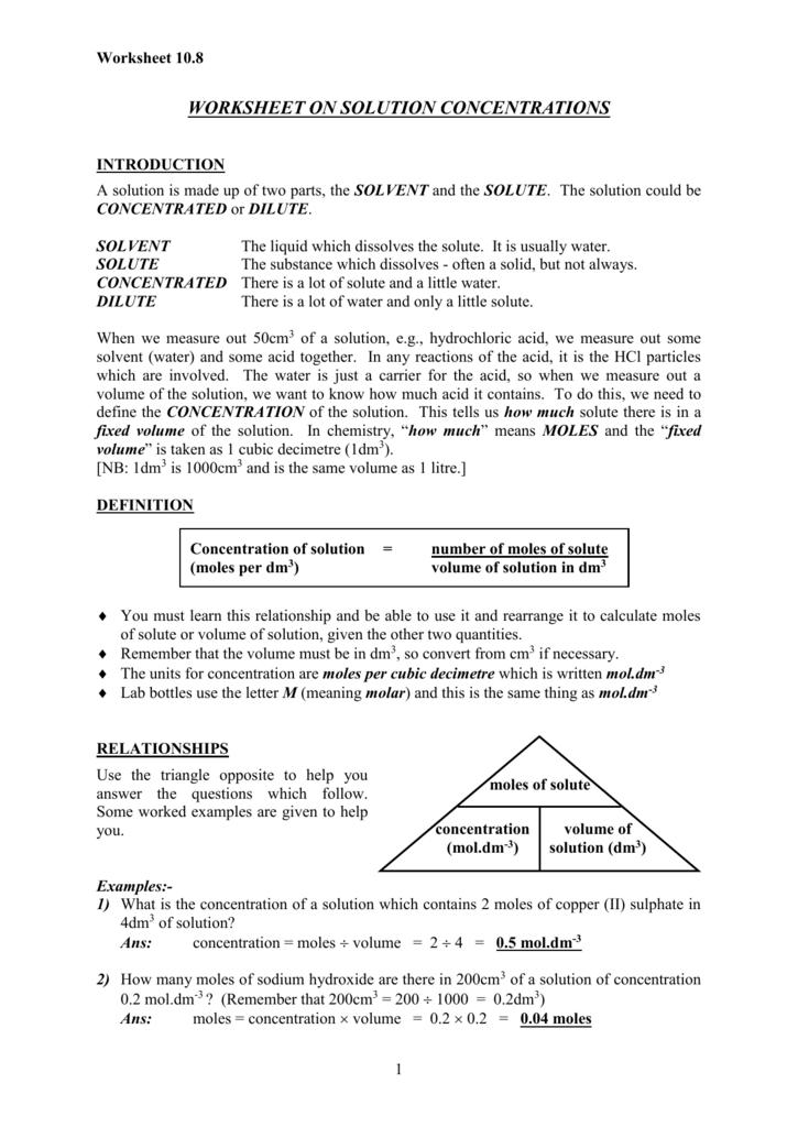 Worksheet On Solution Concentrations