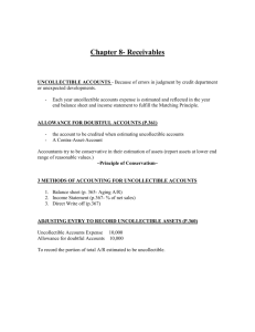 Chapter 8- Receivables