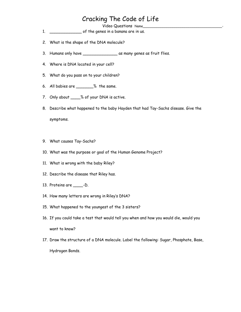 worksheet Crack The Code Worksheet Answers cracking the code video questions
