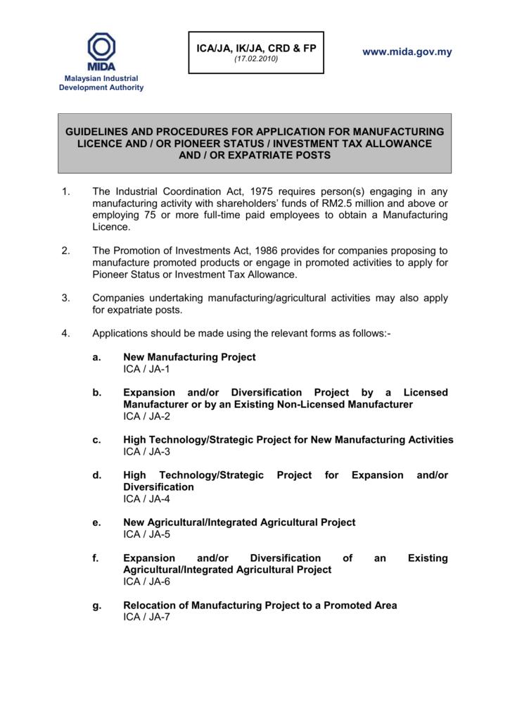 Ica Ja 2 Malaysian Industrial Development Authority