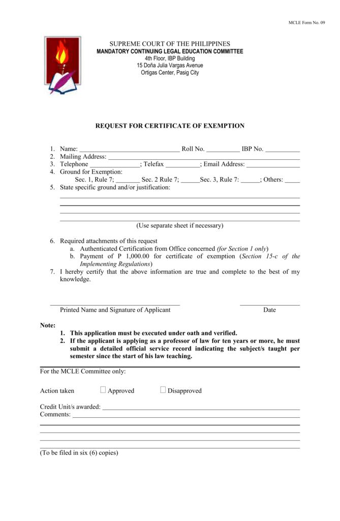MCLE Form No. 09 - ChanRobles LawNet, Inc.