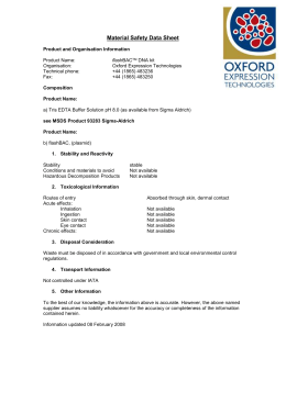 Material Safety Data Sheet - Oxford Expression Technologies