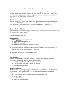 Communications Plan Template - United Way