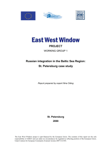 WG1 case study. Russian integration in the Baltic Sea Region