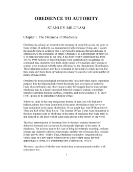 "stanley milgram's ""the perils of obedience Experiment stanley milgram's ""the perils of obedience"" summary of the review of milgram's experiment on obedience written by diana."