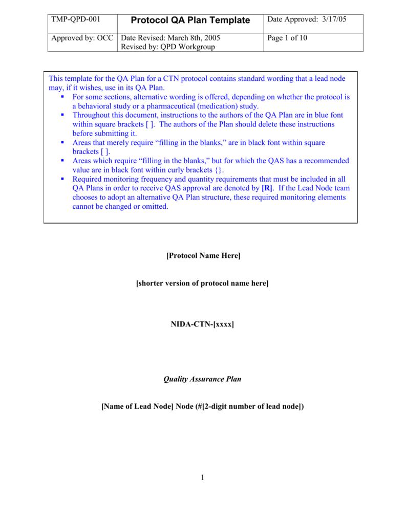 Protocol Quality Assurance Plan Template