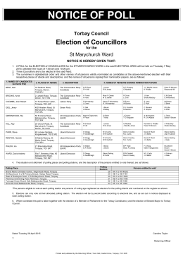 Notice of Poll - Torbay Council