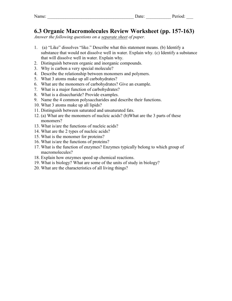 Chapter 2—Chemistry of Life Review Worksheet
