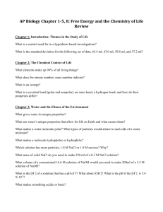 AP Biology Chapter 1-5: Chemistry of Life Review