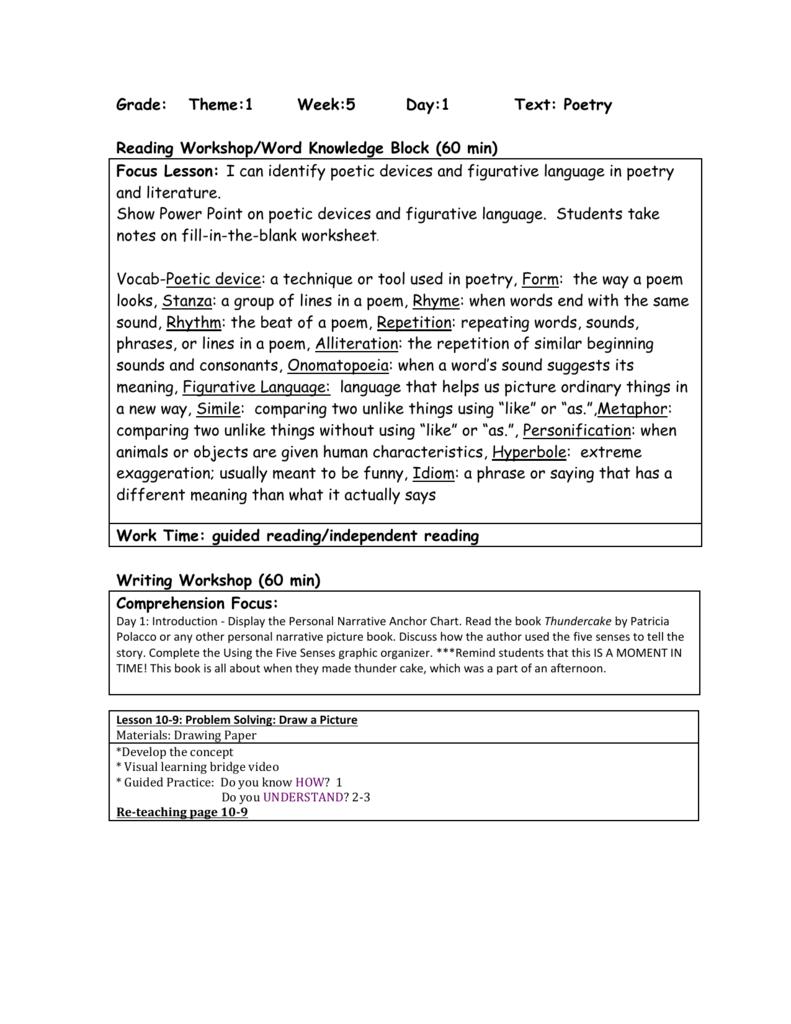 worksheet Identifying Poetic Devices Worksheet grade theme1 week5 day1 text poetry reading workshop