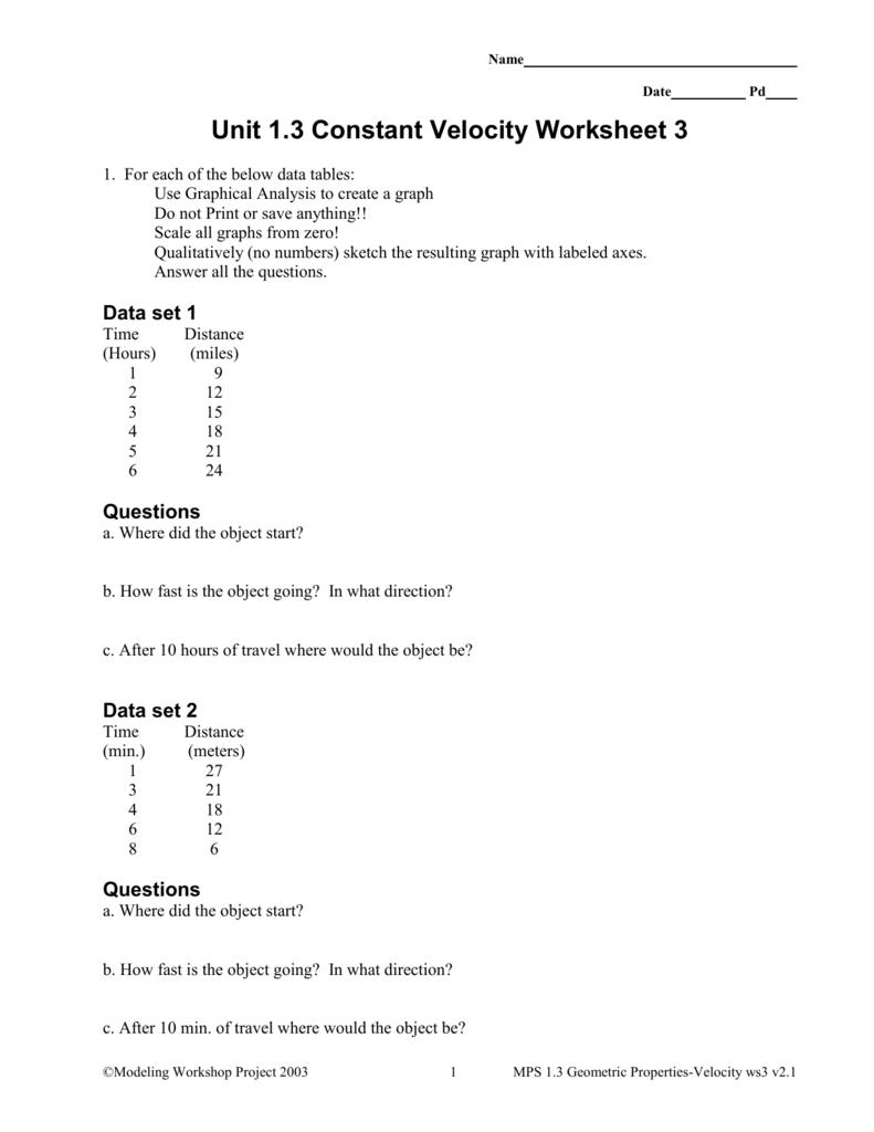 1.3 Constant Velocity worksheet 3