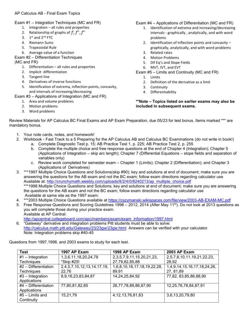 Ap Calculus Ab Final Exam Topics Exam 1 Integration